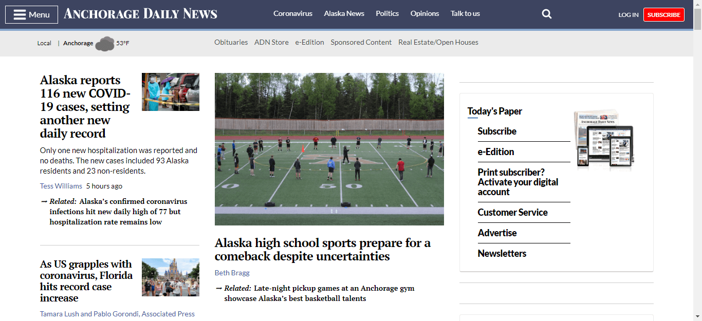 Alaska Newspapers 01 Anchorage Daily News Website