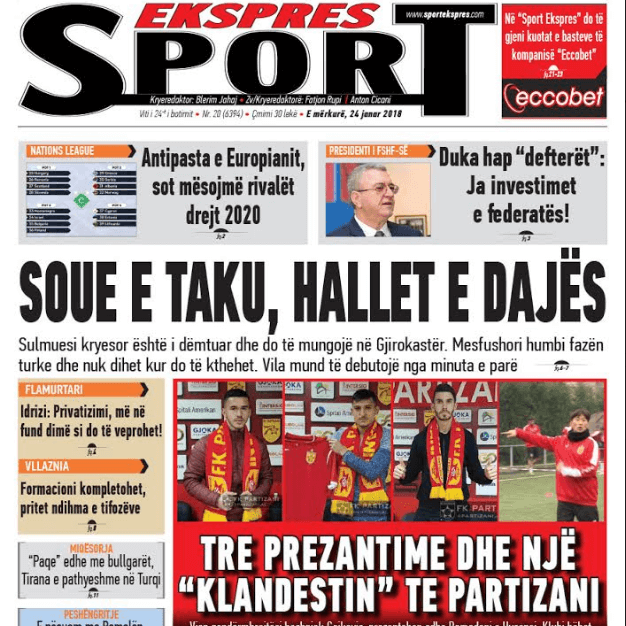 Albanian Newspapers 43 Sport Ekspres