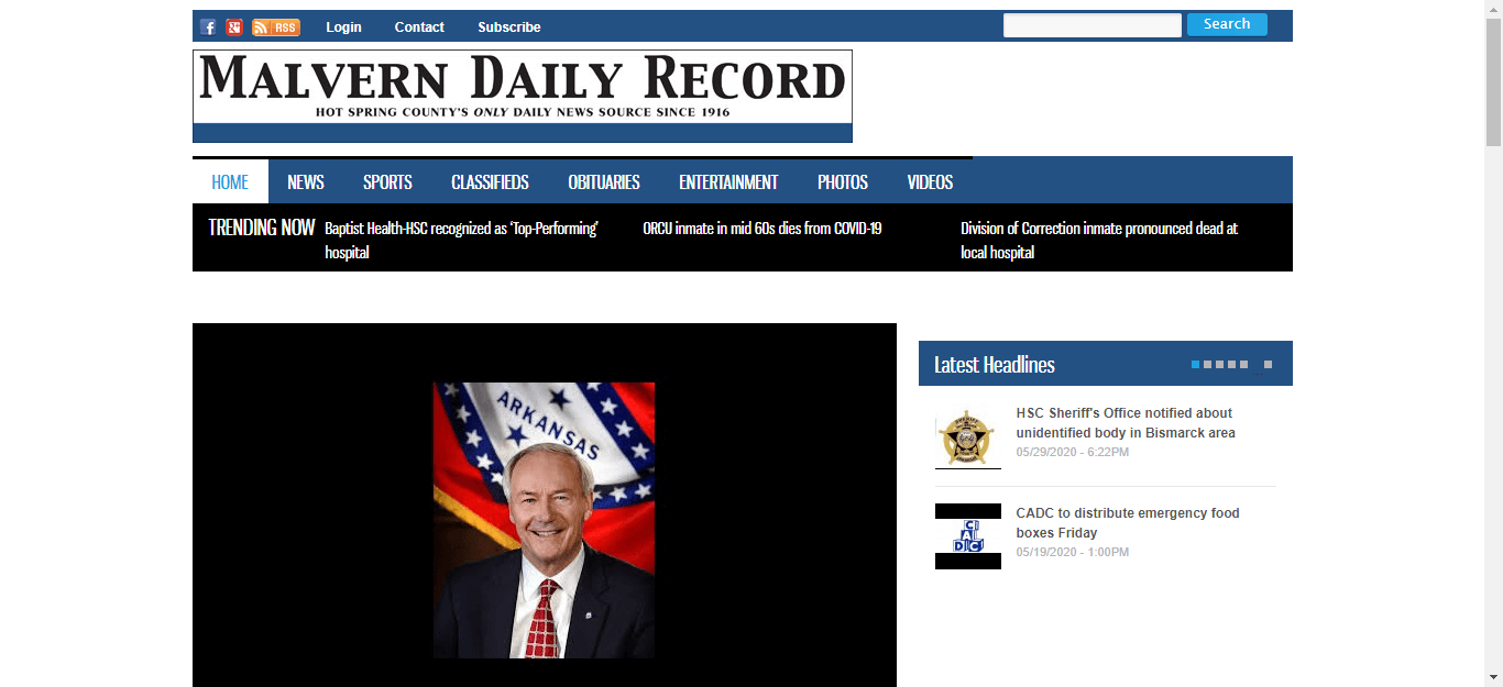 Arkansas Newspapers 26 Malvern Daily Record website