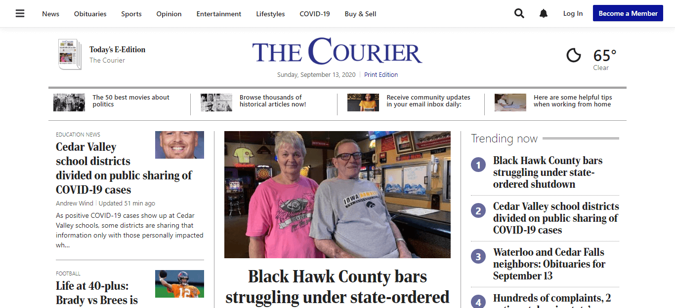 Iowa Newspapers 07 The Courier website