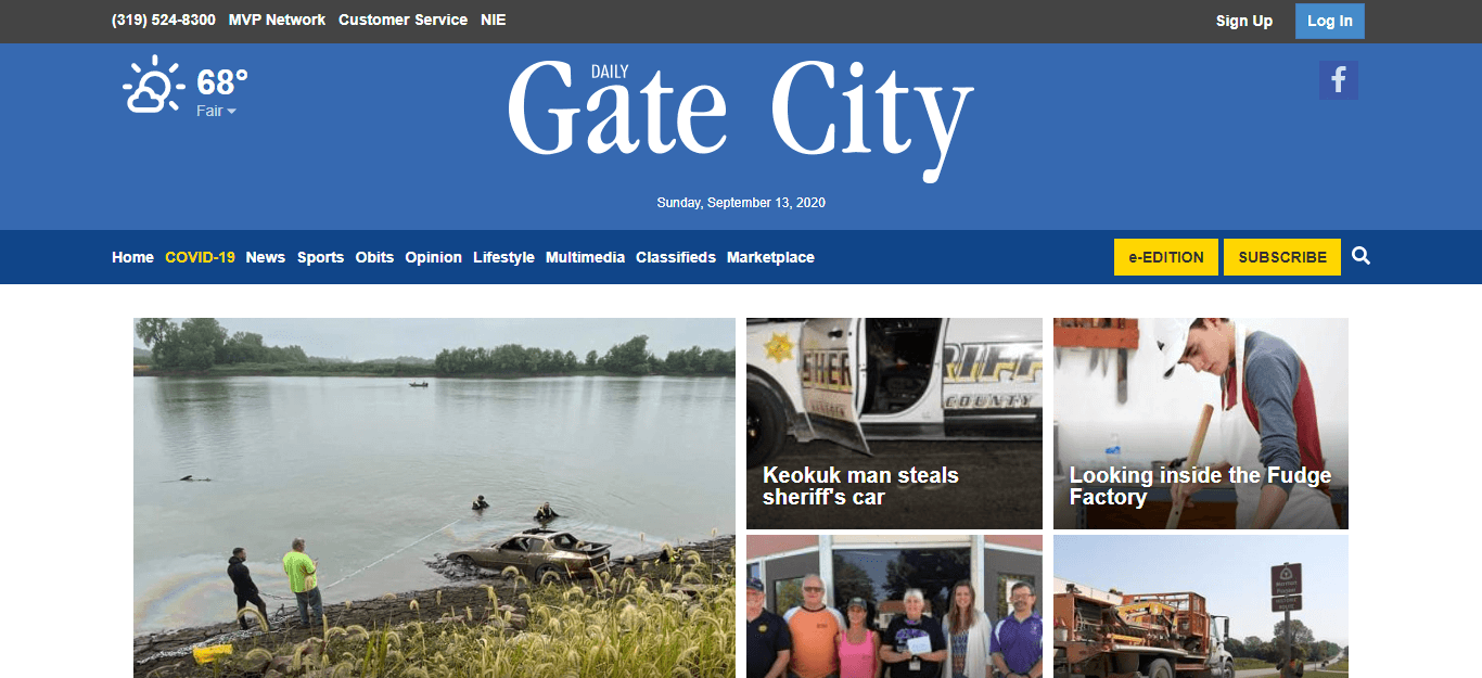Iowa Newspapers 21 Keokuk Gate City website