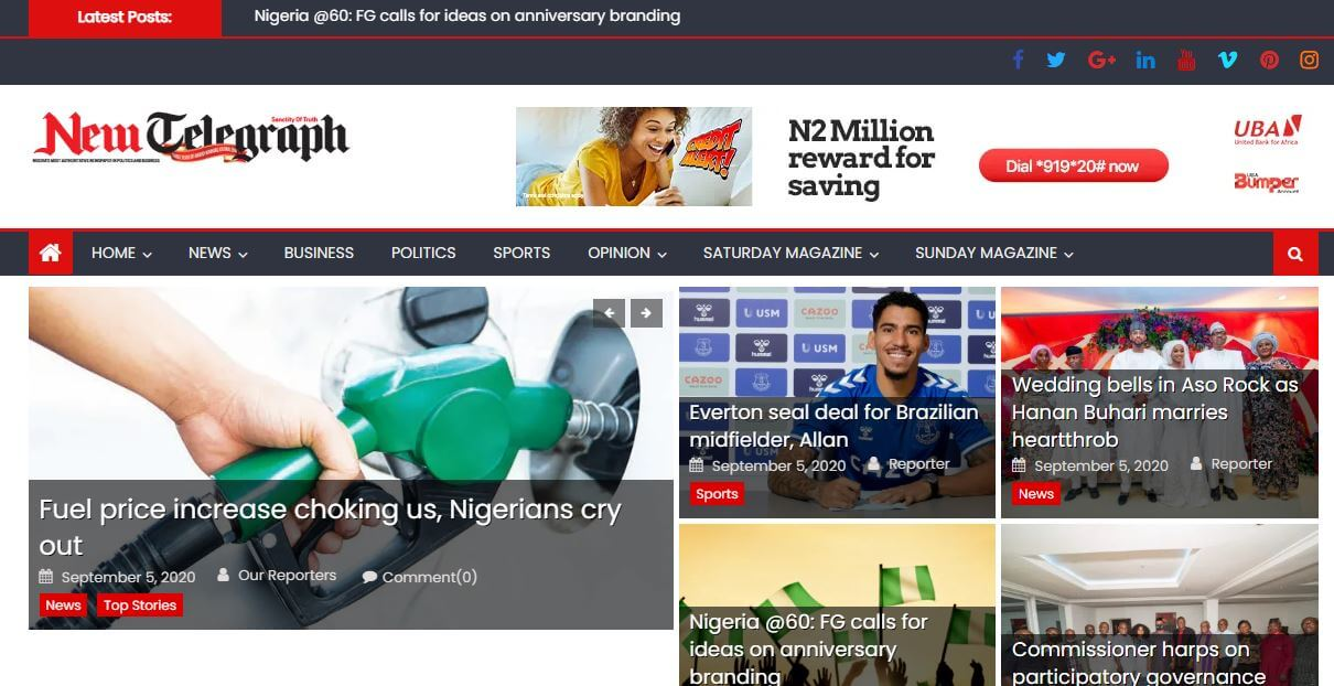 Nigeria 15 New Telegraph website