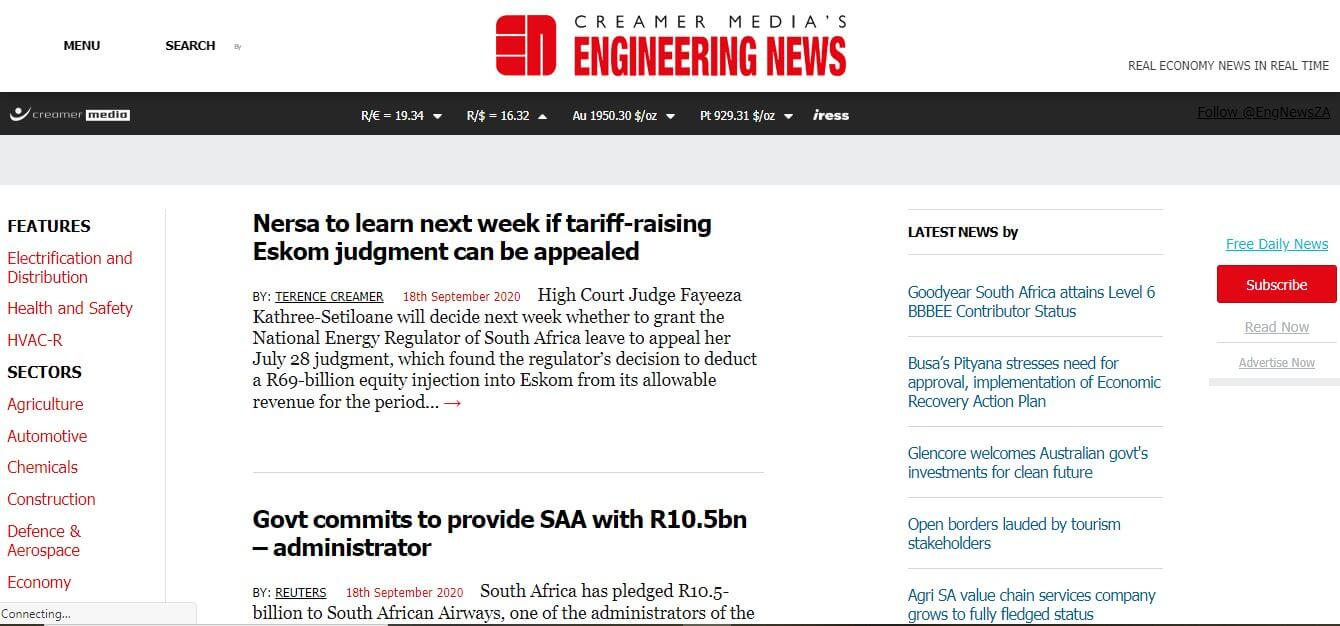 South Africa 39 Engineering News website