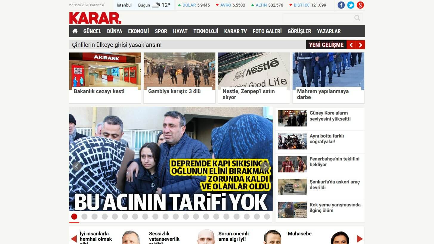 Turkish Newspapers 19 Karar Haber Website