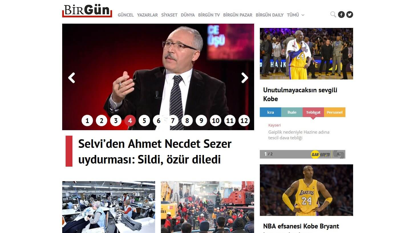 Turkish Newspapers 22 BirGun Website
