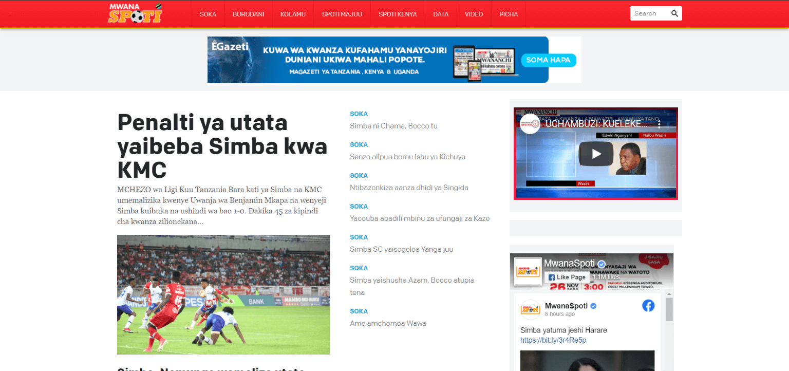 Tanzania newspapers 22 mwanaspoti website