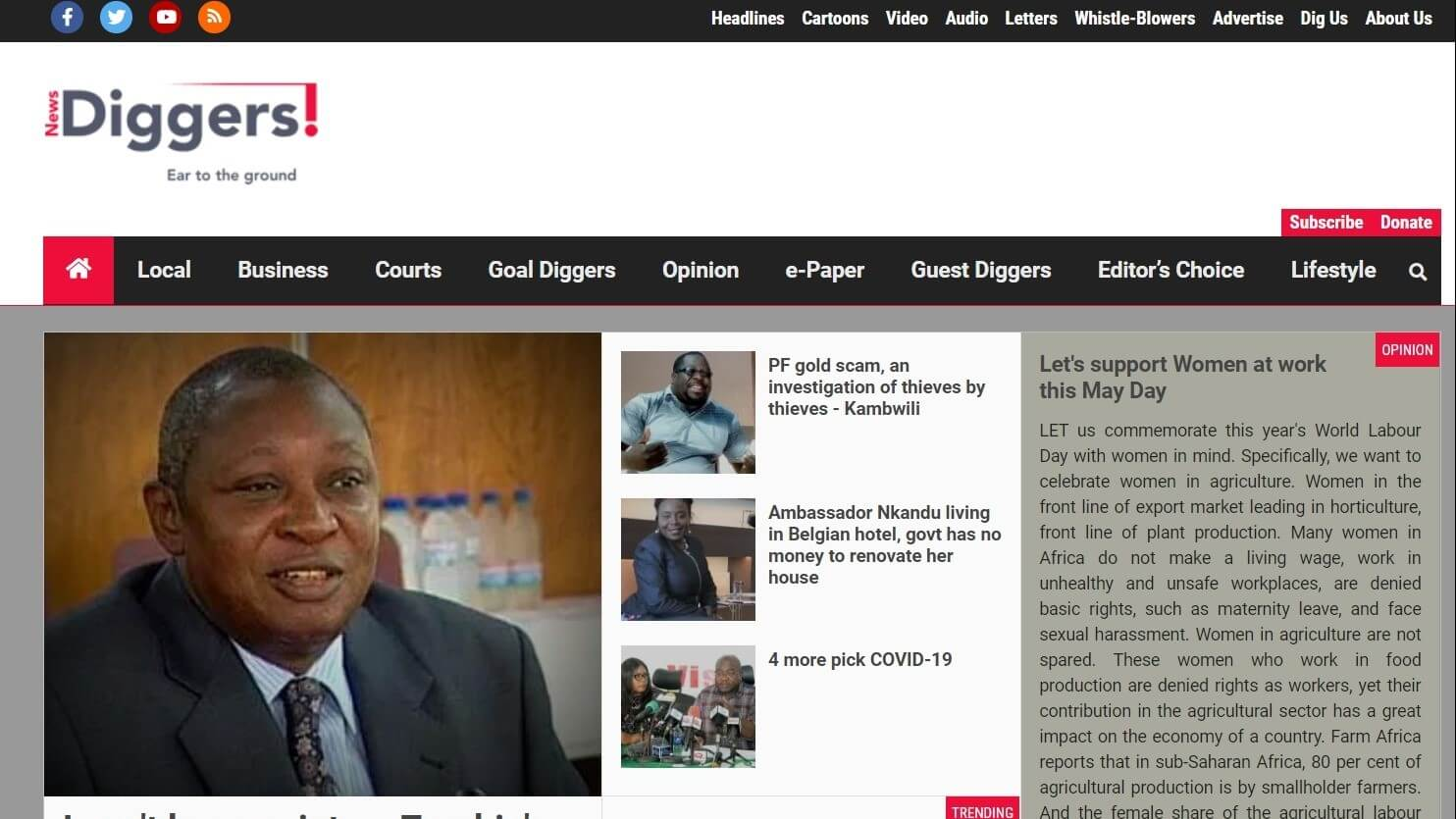 zambia newspapers 15 News Diggers website