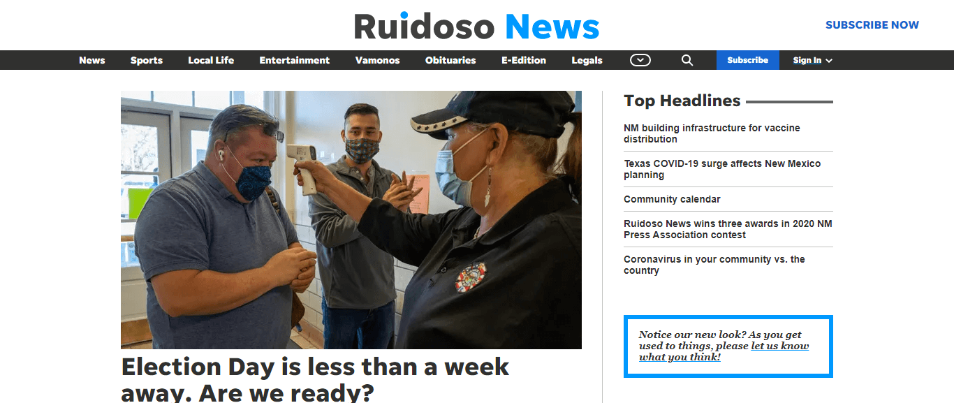 New Mexico Newspapers 12 Ruidoso News website