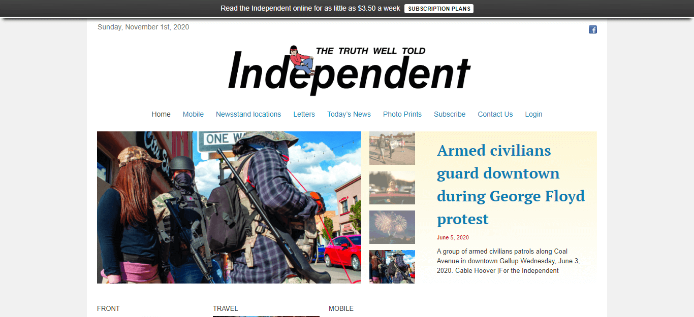 New Mexico Newspapers 22 Gallup Independent website