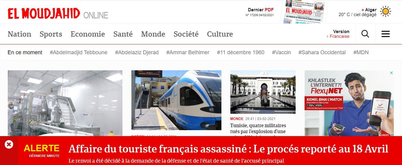 Algeria Newspapers 23 El Moudjahid website