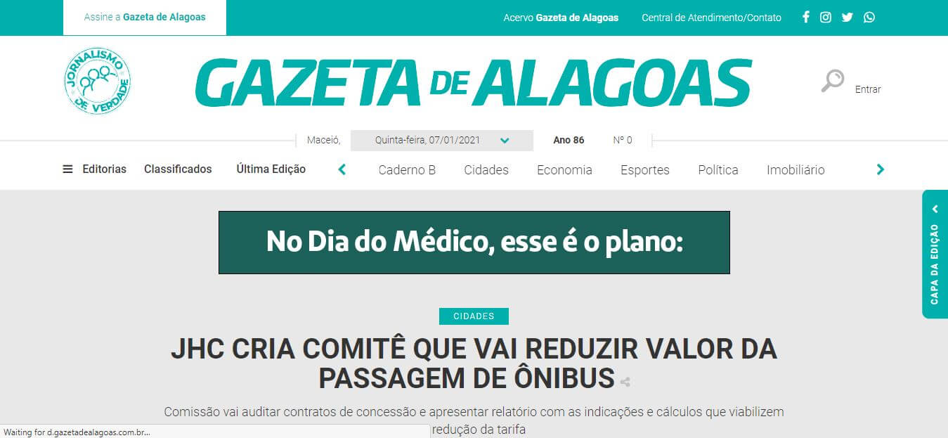 Brazil newspapers 2 Gazeta de Alagoas website