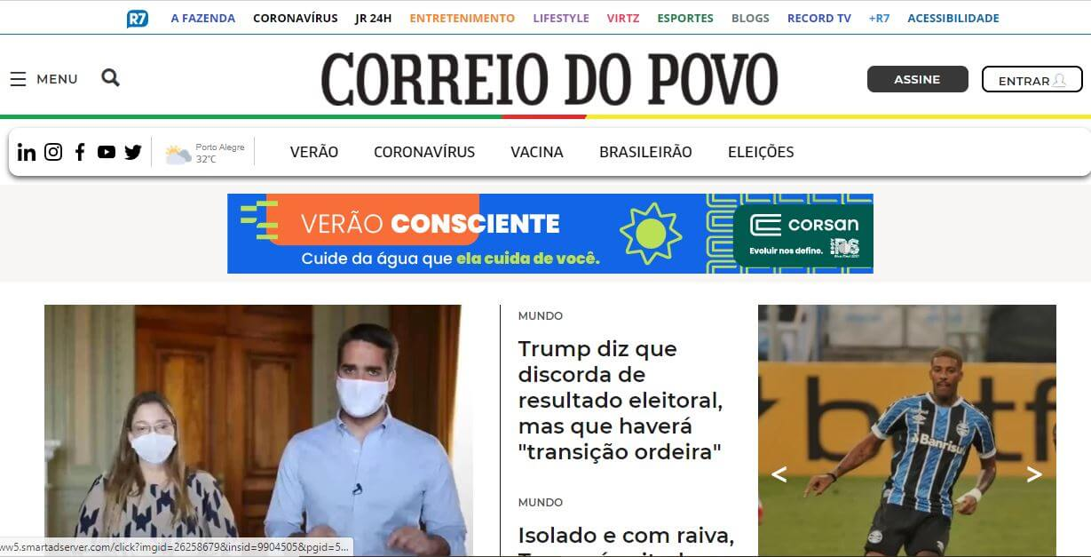 Brazil newspapers 31 Correio do Povo website