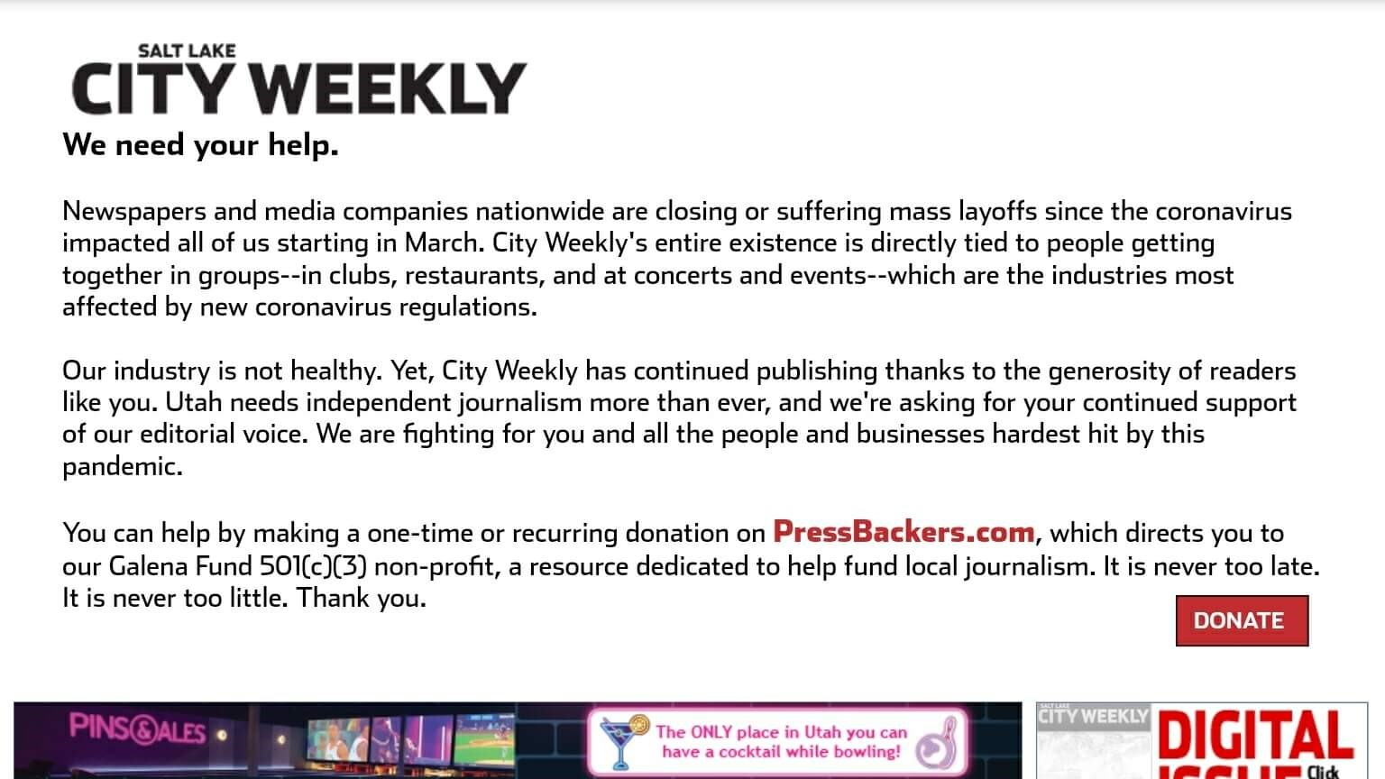 Utah Newspapers 11 Salt Lake City Weekly Website