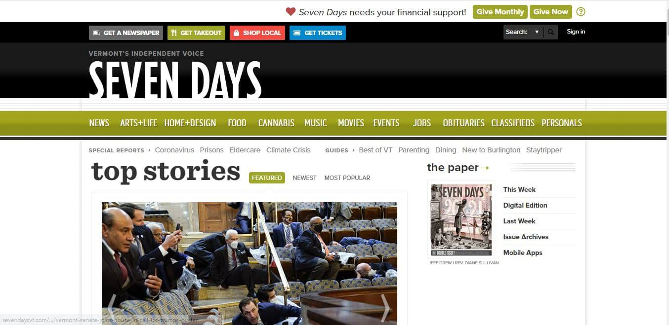 Vermont Newspapers 04 Seven Days Website