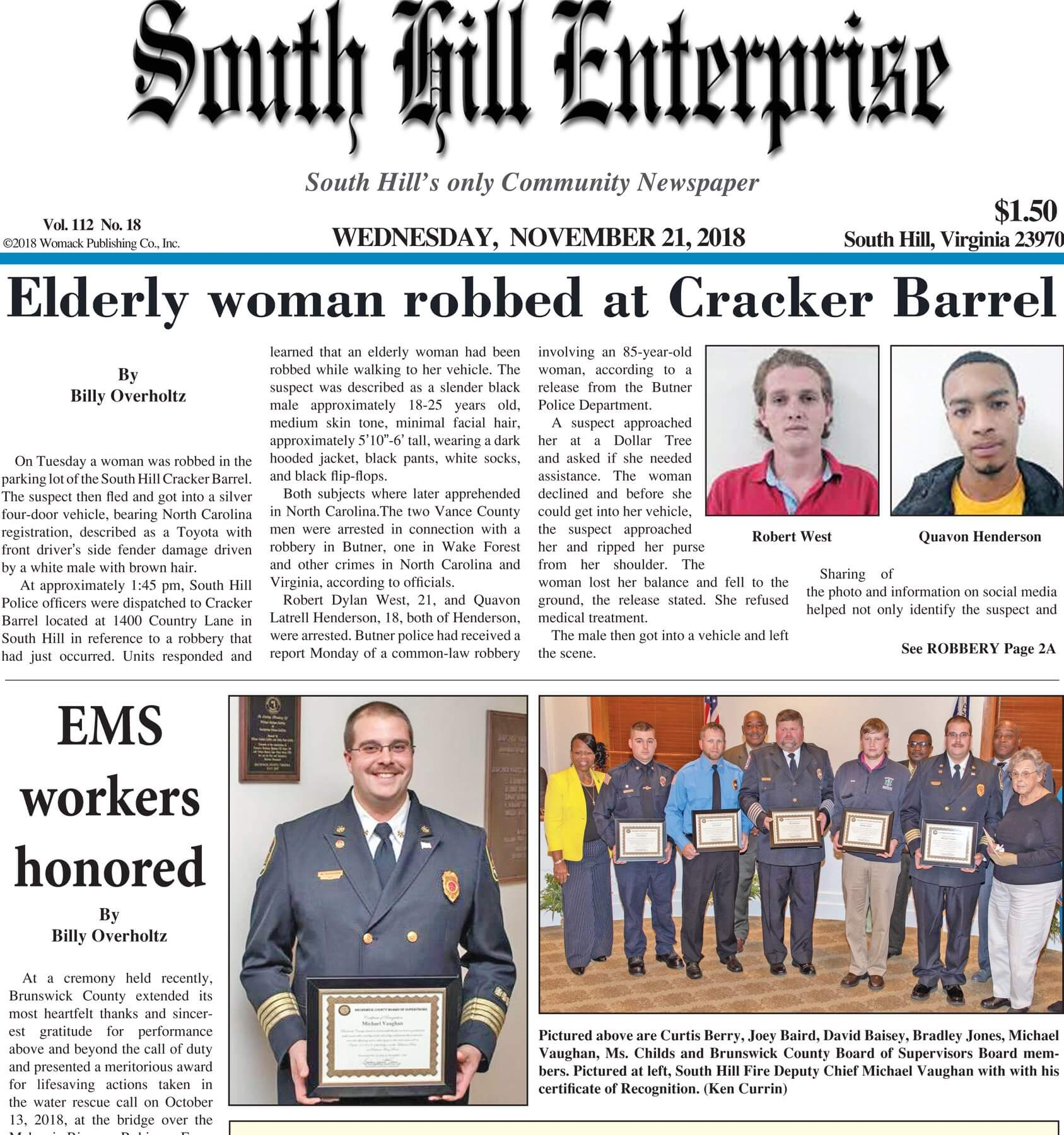 Virginia Newspapers 30 South Hill Enterprise