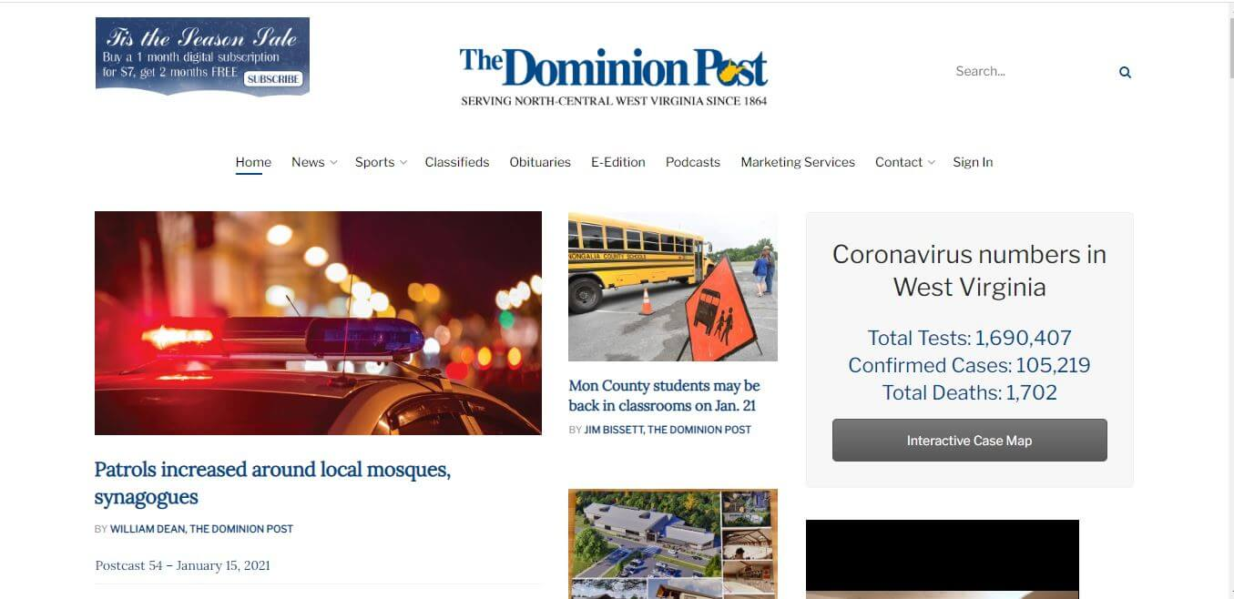 West Virginia Newspapers 20 Morgantown Dominion Post Website