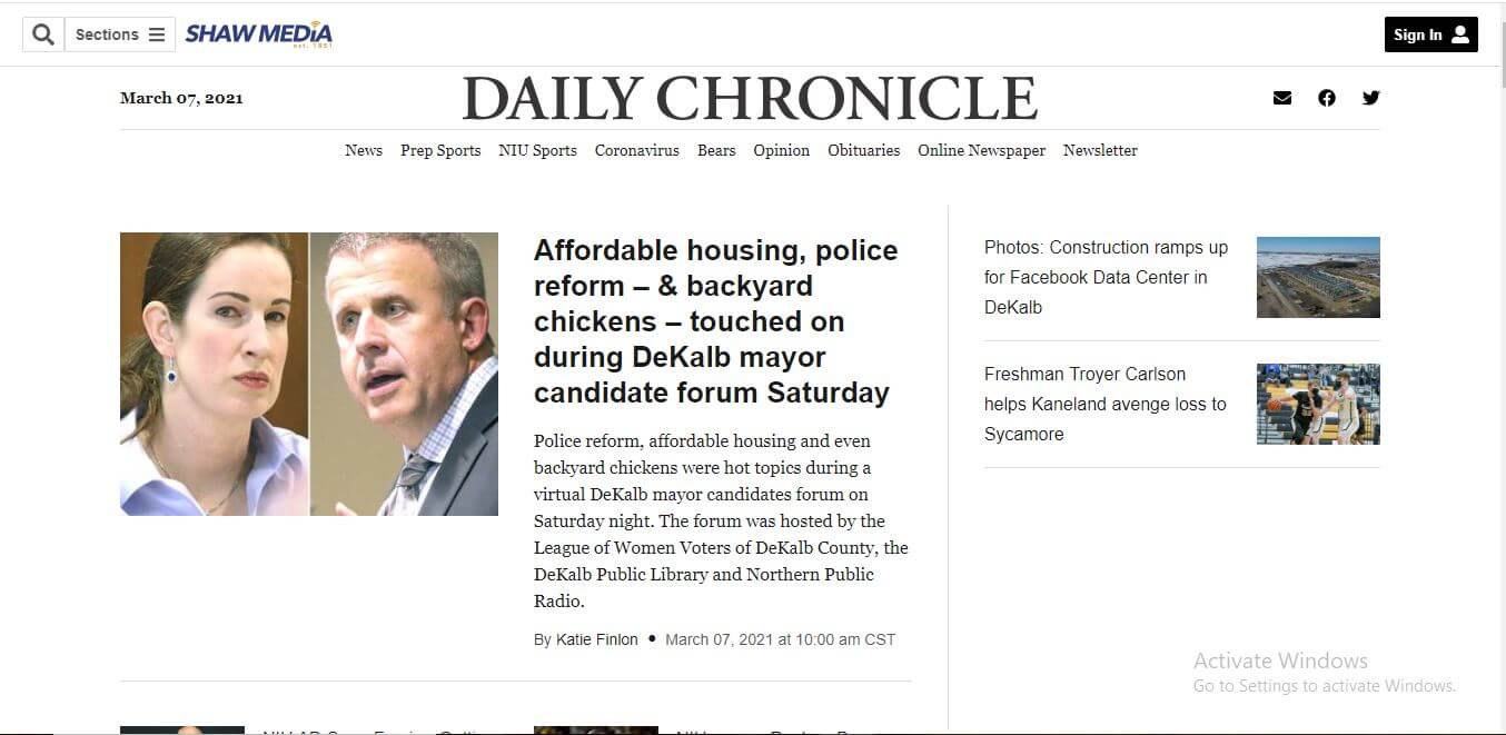 Illinois Newspapers 17 Daily Chronicle Website