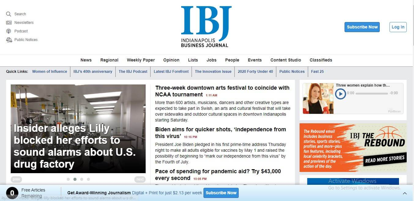 Indiana Newspapers 03 Indianapolis Business Journal Website