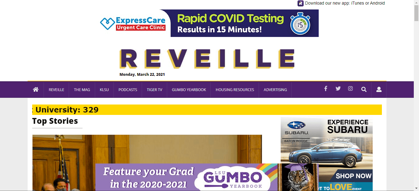 Lousiana Newspapers 10 Daily Reveille website