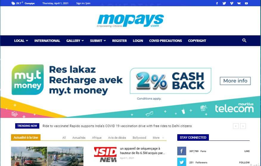 Mauritius Newspapers 14 Mo Pays website