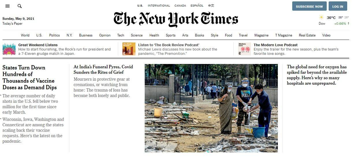 New York newspapers 1 The New York Times website
