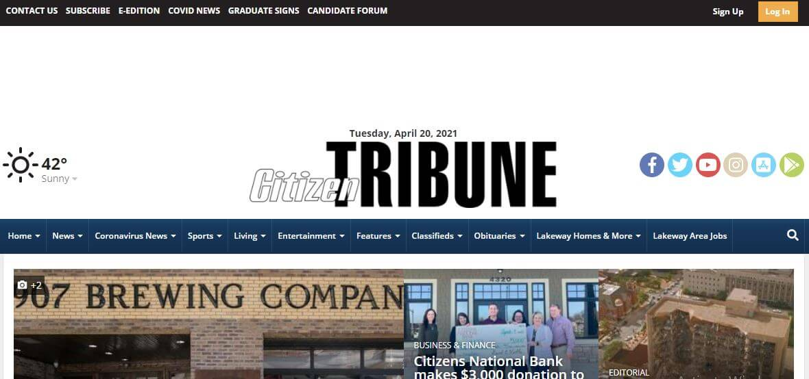 Tennessee newspapers 27 The Citizen Tribune website