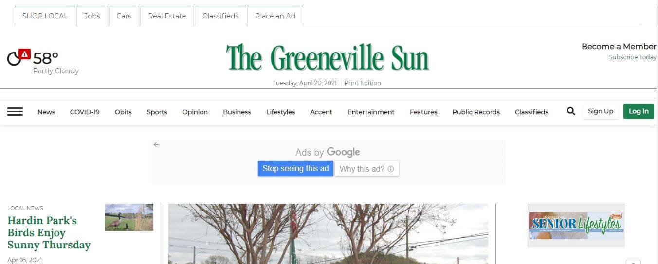 Tennessee newspapers 39 The Greenville Sun website